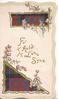 FOR OLD LANG SYNE in gilt, purple heather around top and bottom tartan design