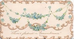 """THERE'S GLADNESS IN REMEMBRANCE"" on lower flap,. blue forget-me-nots on top flap, gilt marginal design"