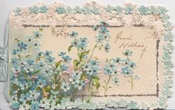 GOOD WISHES  in gilt on cream background, marginal white & glittered design, many blue forget-me-nots