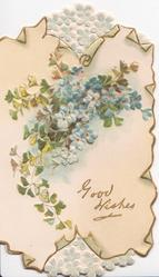 GOOD WISHES  in gilt lower right, blue forget-me-nots, design in white top & bottom