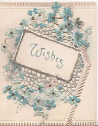 WISHES in blue in glitter margined inset, blue forget-me-nots & perforated design round the inset