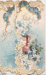 BEST WISHES in gilt, blue forget-me-nots & purple decanter, perforated design top & bottom, blue background