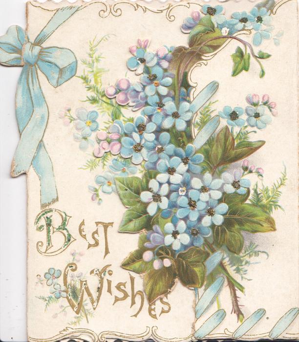 BEST WISHES in gilt below blue forget-me-nots, fern & blue ribbon