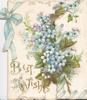 BEST WISHES in gilt below blue forget-me-nots, fern & blue ribbon