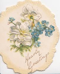 HEARTY GREETINGS in gilt, blue forget-me-nots & white anemones, yellow marginal design