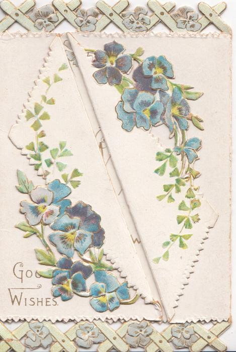 GOOD WISHES in gilt at base, blue pansies on both front flaps, trellis design above & below, embossed