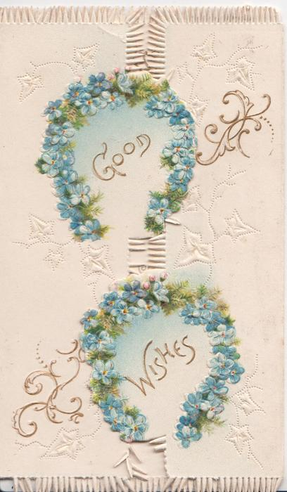 GOOD WISHES in gilt, under 2 horseshoes of blue blue forget-me-nots on both flaps