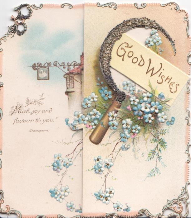 GOOD WISHES in gilt, under sickle & above blue forget-me-nots on narrow right flap, pub & more flowers revealed left