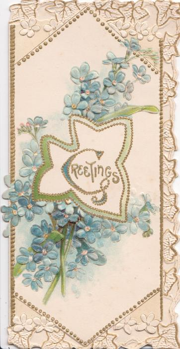 GREETINGS(G illuminated) in gilt in central design, blue forget-me-nots above & below, marginal stylised flower & leaf design