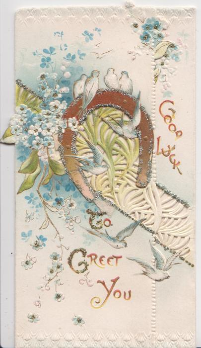 GOOD LUCK  TO GREET YOU in red, glittered horseshoe, blue forget-me-nots & perforated design, blue birds of happiness