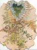 HEARTY GREETINGS in glittered gilt, blue forget-me-nots in heart shaped design,fern & ginkgo leaves, perforated