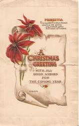 A CHRISTMAS GREETING WITH ALL GOOD WISHES FOR THE COMING YEAR   FROM, embossed