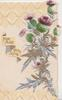 FOR AULD LANG SYNE  in gilt , purple thistles with stylised silver leaves