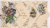 LIVE LONG AND HAPPY in gilt, 4 diamond shaped plaques 2 with pansies & one a watery rural inset