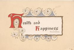 HEALTH AND HAPPINESS(H, H illuminated) on white gilt edged inset surrounded by stylised daisies, yellow background