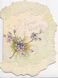 GOOD WISHES in light blue upper right,  forget-me-nots below in marginal shell design