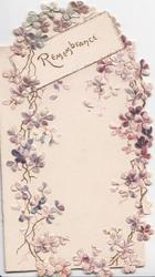 REMEMBRANCE in gilt on diagonal plaque, loop of purple forget-me-nots