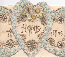 A HEARTY GREETING in gilt across 3 flaps, blue forget-me-nots & complex perforated daisy & heart design