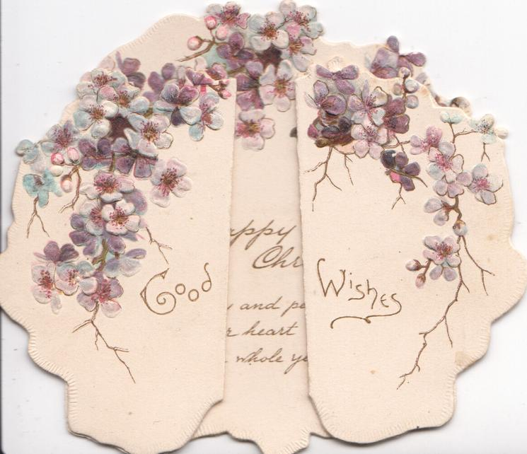 GOOD WISHES  in gilt across both front flaps,purple forget-me-nots above