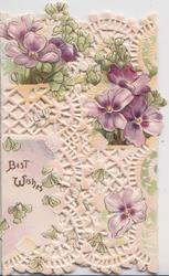 BEST WISHES in gilt left, purple pansies in much perforated design across both front flaps