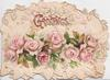 GREETINGS in gilt over perforatation above pink roses, white marginal leafy design
