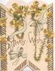 HEARTY WISHES across both flaps, yellow forget-me-nots and blue ribbon, perforated floral marginal design