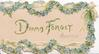 DINNA FORGET(D & F illuminated) central with marginal chain of blue forget-me-nots & ribbon