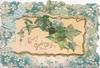 EVERY GOOD WISH in gilt on cream ivy filled inset that opens, blue forget-me-not marginal design