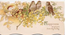 HAPPINESS BE YOURS( H illuminated) FROM DAY TO DAY 3 sparrows on acacia branch, nest with eggs left, embossed