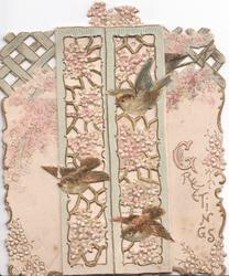 GREETINGS(G illuminated) 3 sparrows on perforated pale pink floral window design across 2 flaps
