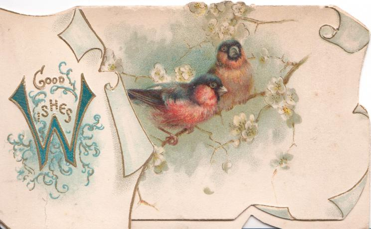 GOOD WISHES(W illuminated) two bull-finches perch on blossom tree in gilt bordered panel