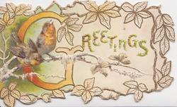 GREETINGS(G illuminated) two robins perch on wintry branch in leafy bordered panel