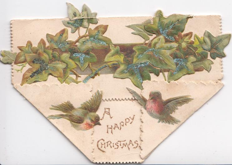 A HAPPY CHRISTMAS in gilt, two robins fly below, ivy leaves on top flap