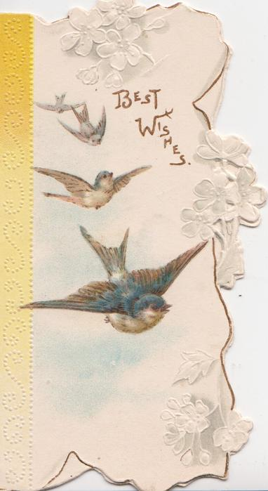 BEST WISHES in gilt aboved right, 4 swallows left flying front, yellow design left