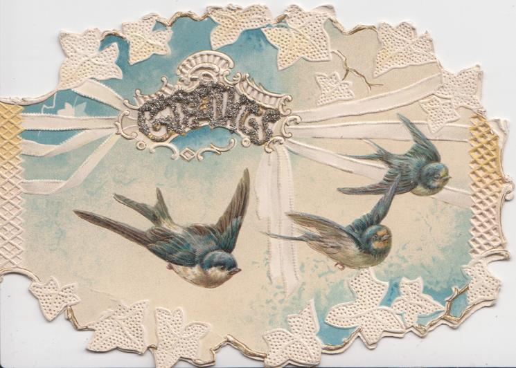 GREETINGS in gilt, across perforation, 3 swallows fly right in front of complex white & blue design, marginal stylised ivy