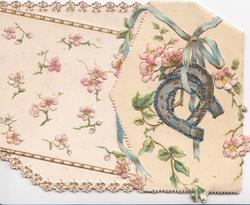 no front title, pink wild roses over both flaps, 2 glittered horseshoes hanging from blue ribbon, embossed