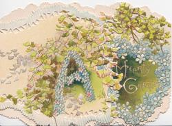 A HEARTY GREETING (A illuminated), blue forget-me-nots & ginkgo leaves on both flaps, embossed