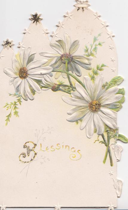 BLESSINGS on white background below white daisies with glittered centers, embossed