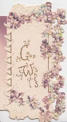 GOOD WISHES in gilt on white panel surrounded on 3 sides by purple forget-me-nots, perforated lattice left