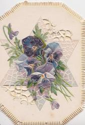 no front title, purple pansies over silver star perforated design, embossed