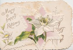 MANY HAPPY RETURNS in gilt, white anemone on star design on small front flap , embossed
