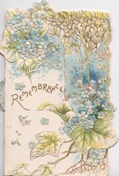 REMEMBRANCE in gilt, blue forget-me-nots in white/gilt perforated design, embossed