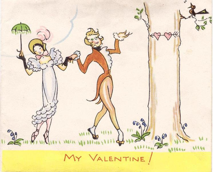 MY VALENTINE! in red on yellow bottom border, couple dance hand in hand left of tree, facing front, woman holds green parasol