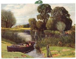 GENTLY FLOWS THE WINDING RIVER (on back) docked rowboat front left, reeds lining water, many trees in distance