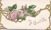 TO GREET YOU in gilt on lower flap pink rose on upper, gilt marginal design