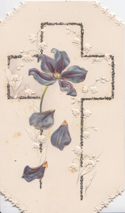 no front title, purple anemone & stylised lilies-of-the-valley over glittered cross