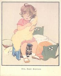 BYE, BABY BUNTING girl sits on stool, holding baby doll bundled in yellow cloth, cat behind her legs. cradle right