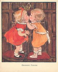GEORGIE PORGIE two toddlers stand on chairs, face eachother and kiss under mistletoe