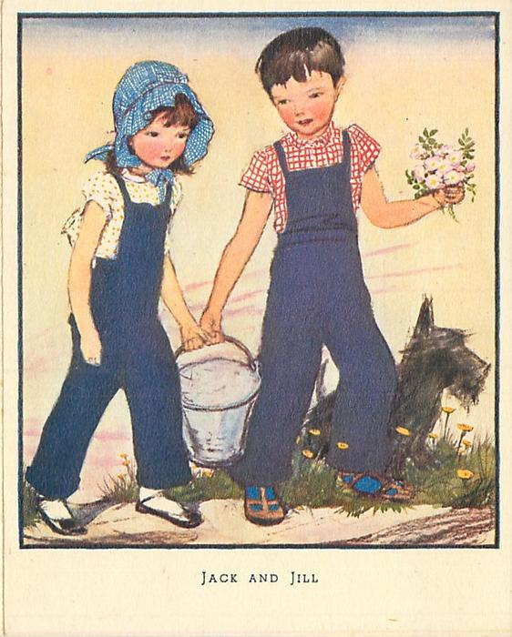 JACK AND JILL girl & boy walk carry bucket of water together, dog behind