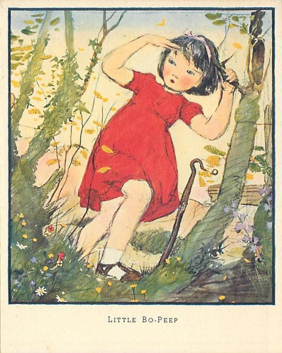 LITTLE BO-PEEP girl in red dress, shepherd's hook to her right, greenery surrounds